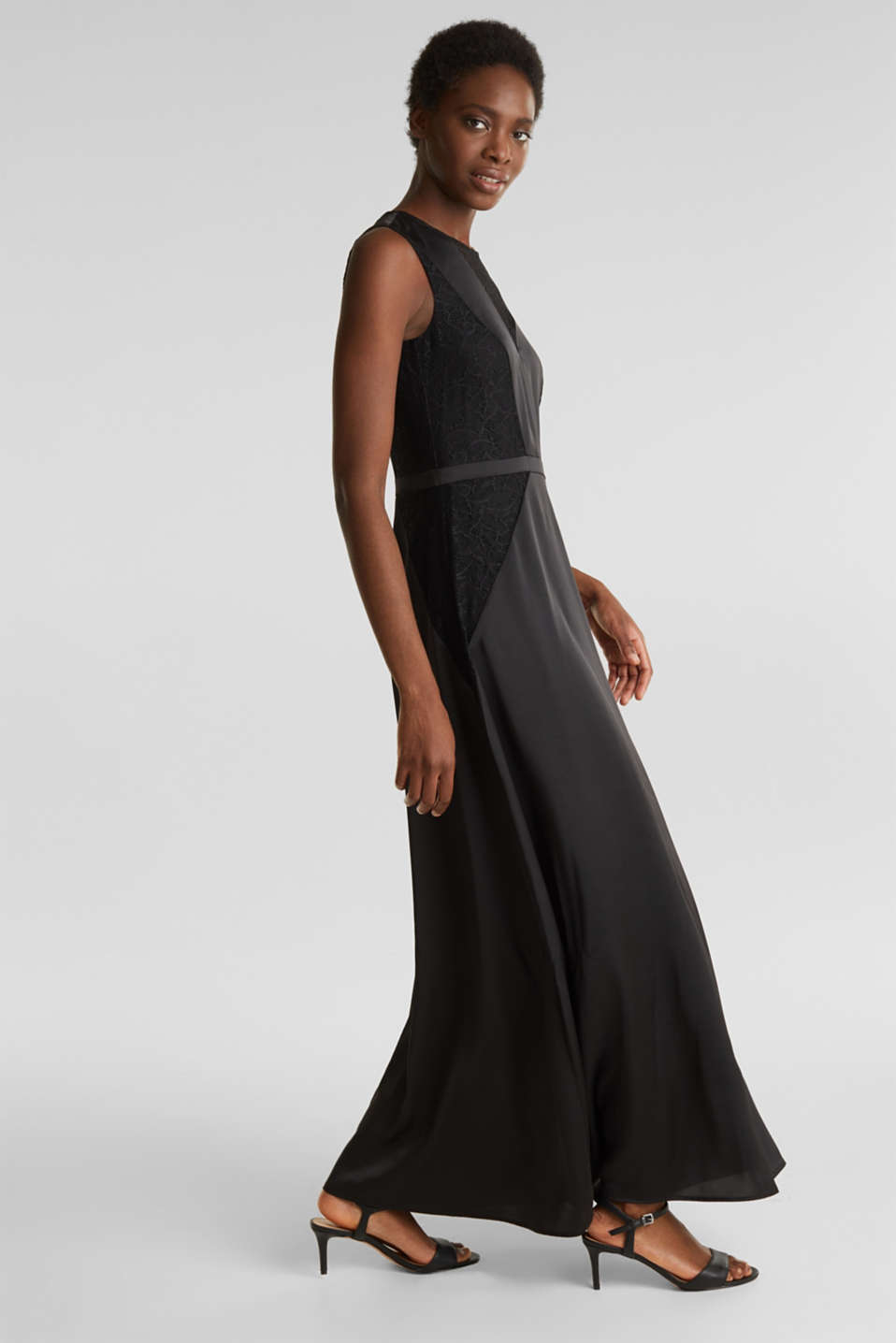 Maxi dress made of satin and lace, BLACK, detail image number 0