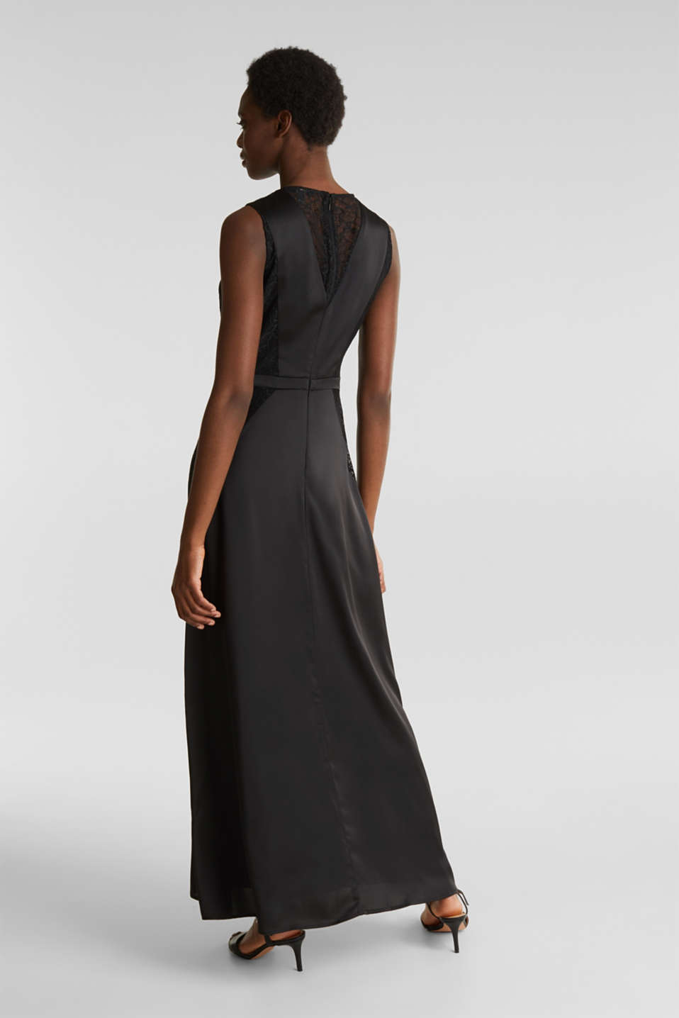 Maxi dress made of satin and lace, BLACK, detail image number 2