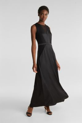 Maxi dress made of satin and lace, BLACK, detail