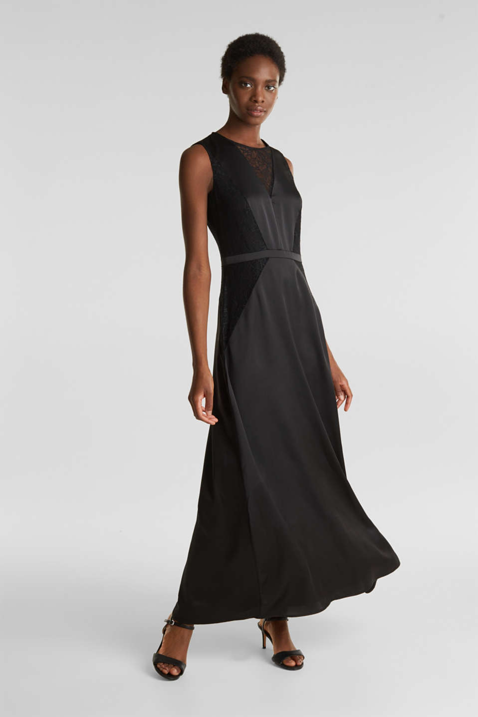 Maxi dress made of satin and lace, BLACK, detail image number 1