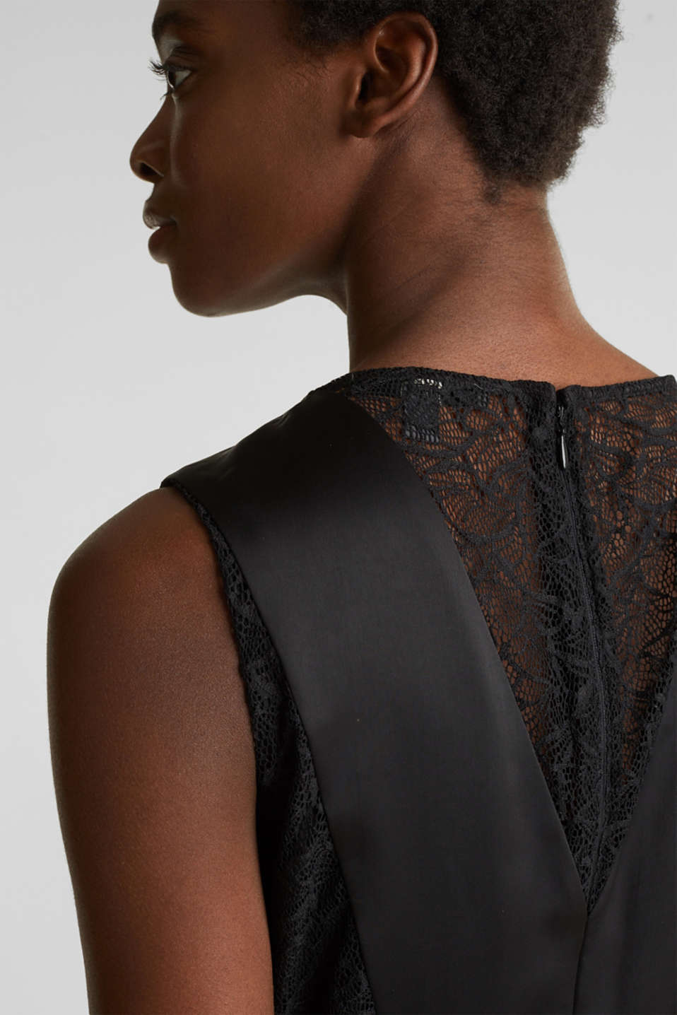 Maxi dress made of satin and lace, BLACK, detail image number 5