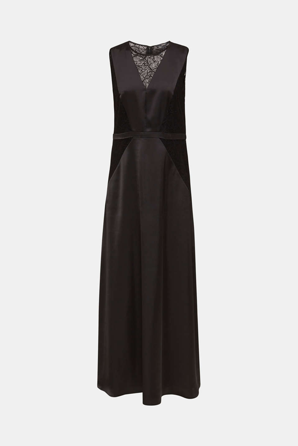Maxi dress made of satin and lace, BLACK, detail image number 6