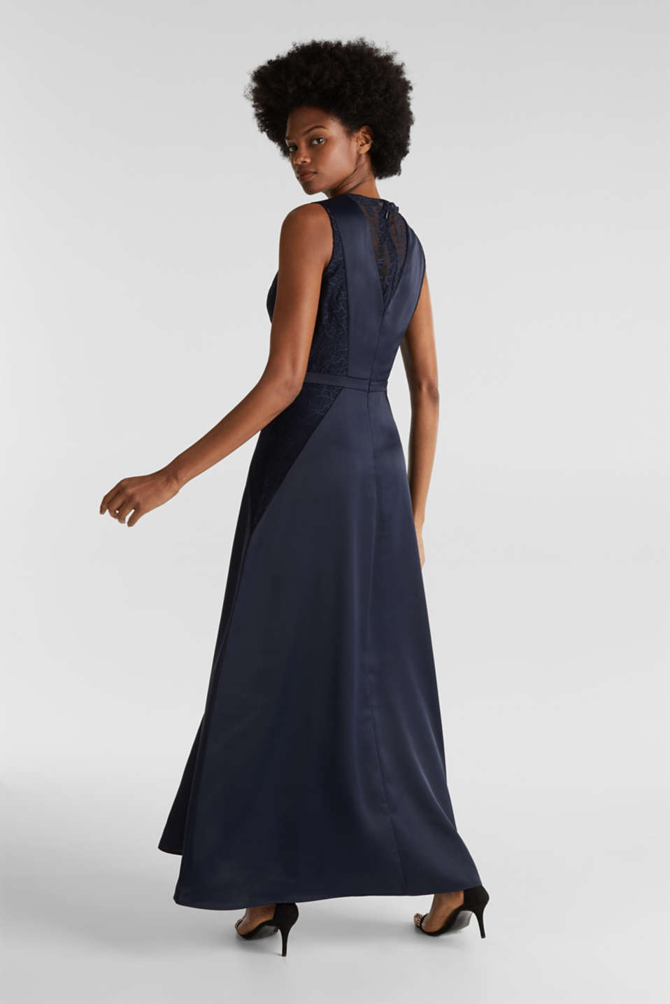 Maxi dress made of satin and lace, NAVY, detail image number 2
