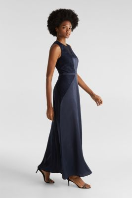 Maxi dress made of satin and lace, NAVY, detail