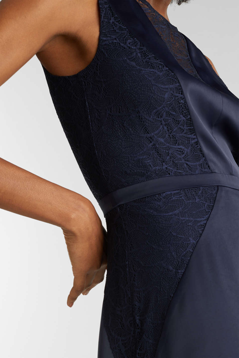 Maxi dress made of satin and lace, NAVY, detail image number 3