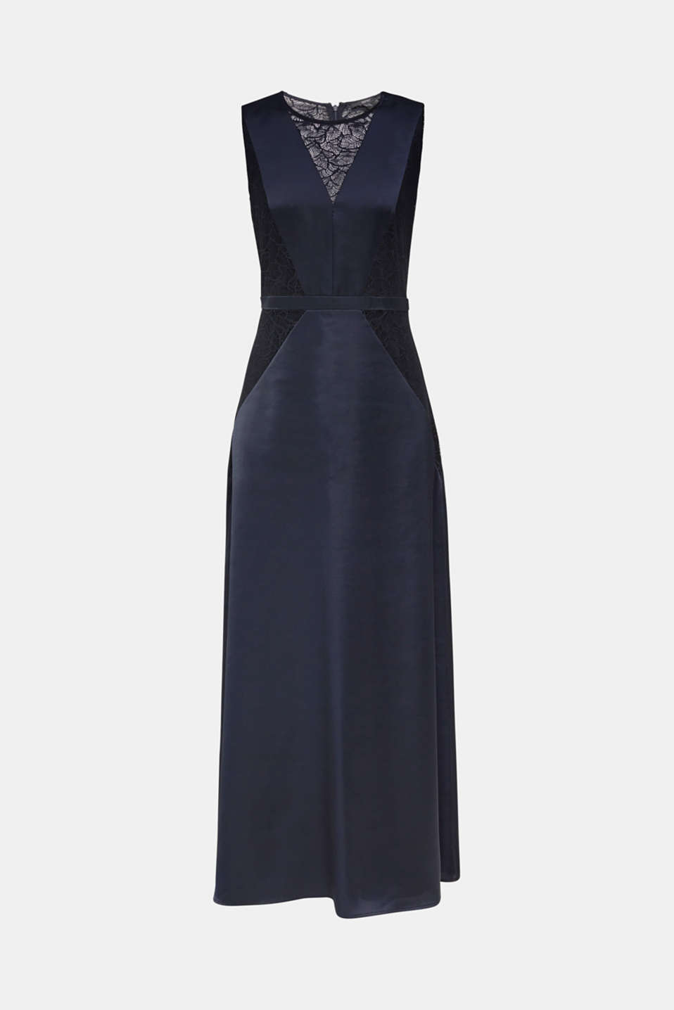 Maxi dress made of satin and lace, NAVY, detail image number 7