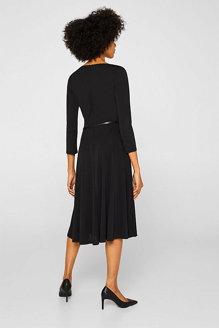 Jersey dress with a belt, BLACK, detail image number 2