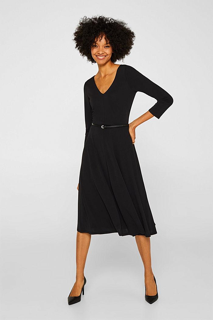 Jersey dress with a belt, BLACK, detail image number 1