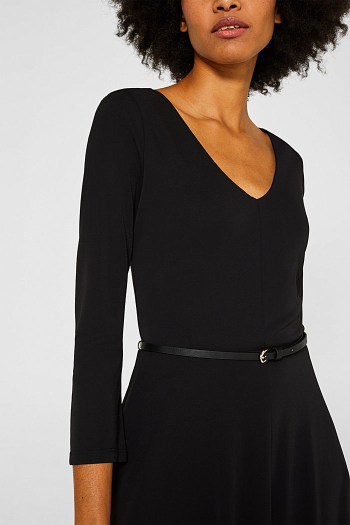 Jersey dress with a belt, BLACK, detail image number 3