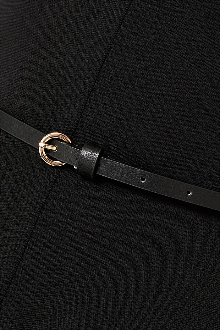 Jersey dress with a belt, BLACK, detail image number 4