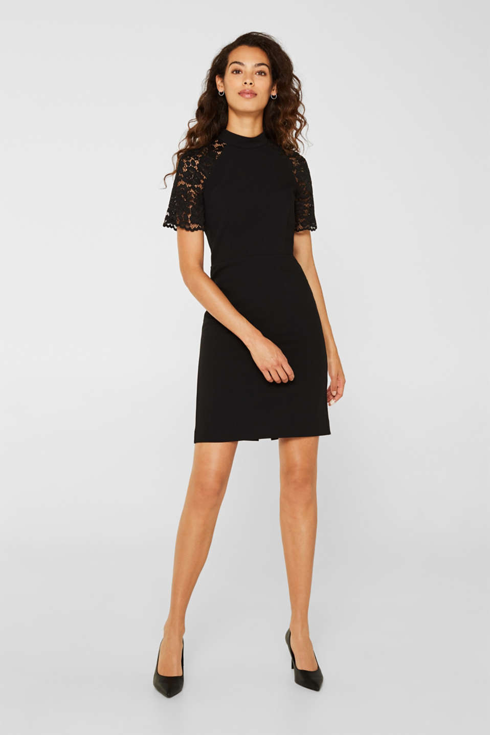 Stretch dress with band collar and lace, BLACK, detail image number 0