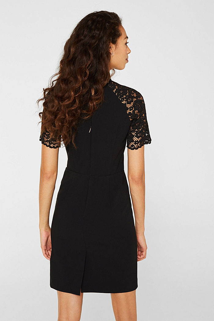 Stretch dress with band collar and lace, BLACK, detail image number 3