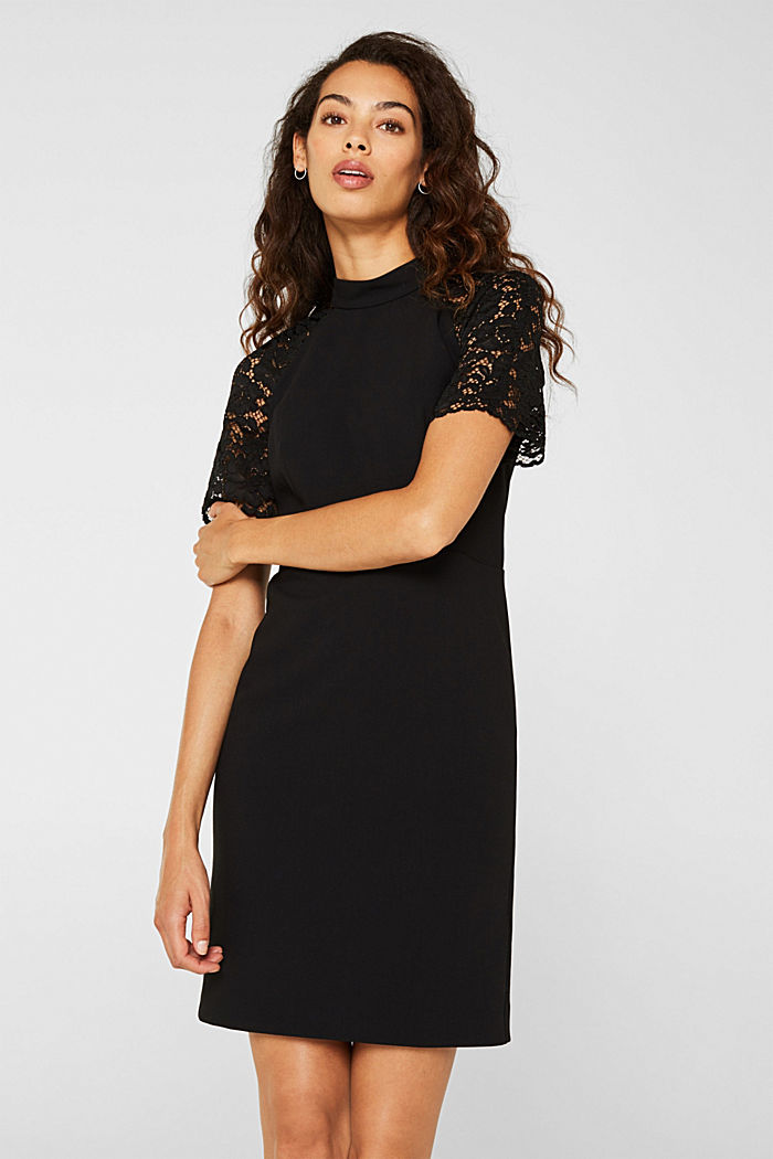 Stretch dress with band collar and lace, BLACK, detail image number 5