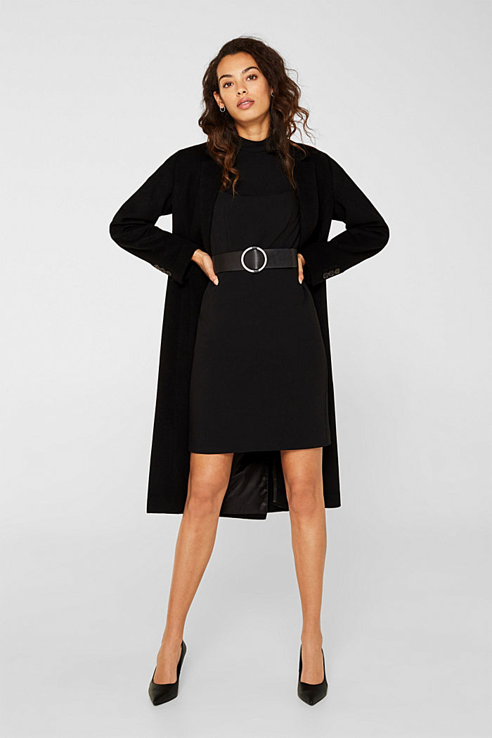 Stretch dress with band collar and lace, BLACK, detail image number 1