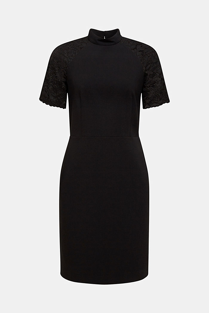 Stretch dress with band collar and lace, BLACK, detail image number 6