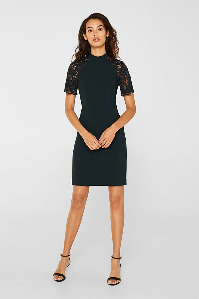 Stretch dress with band collar and lace, DARK TEAL GREEN, detail image number 0