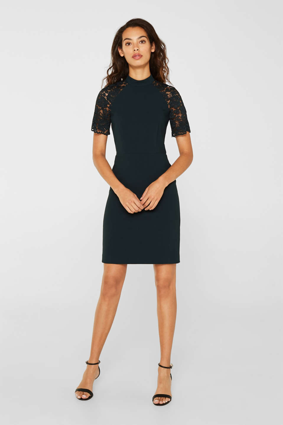 Esprit - Stretch dress with band collar and lace