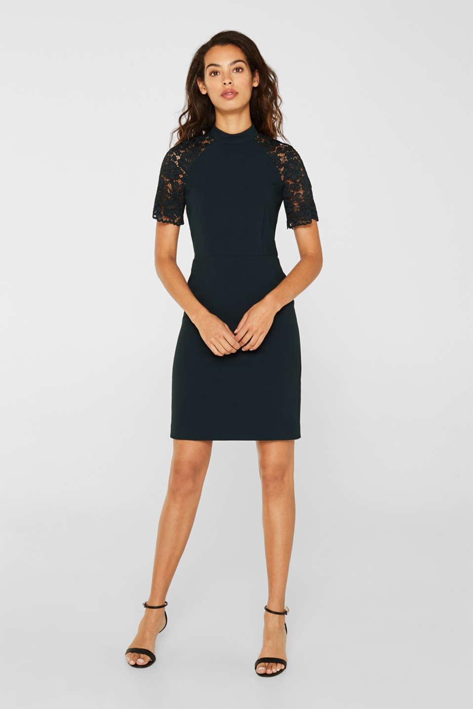 Esprit - Stretch-Kleid mit Stehkragen und Spitze im Online ...