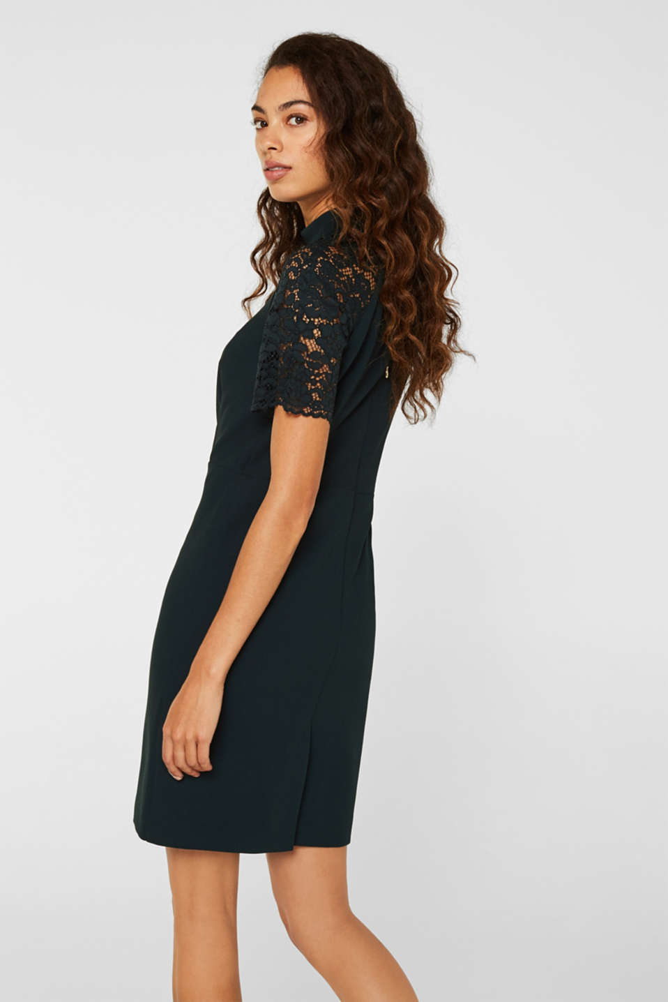 Stretch dress with band collar and lace, DARK TEAL GREEN, detail image number 3