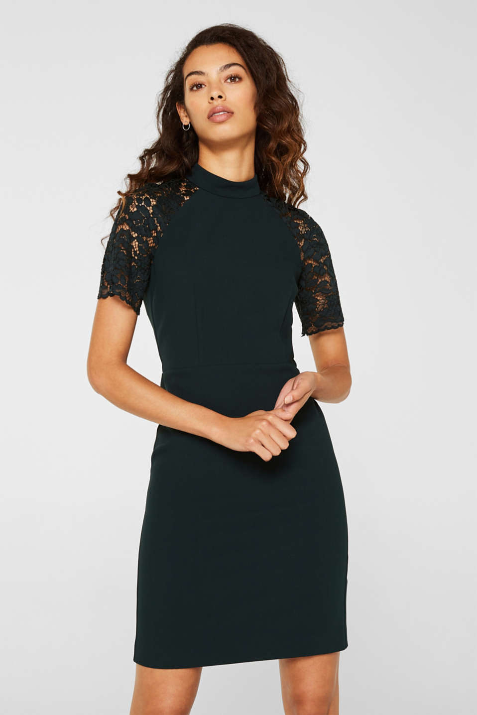 Stretch dress with band collar and lace, DARK TEAL GREEN, detail image number 5