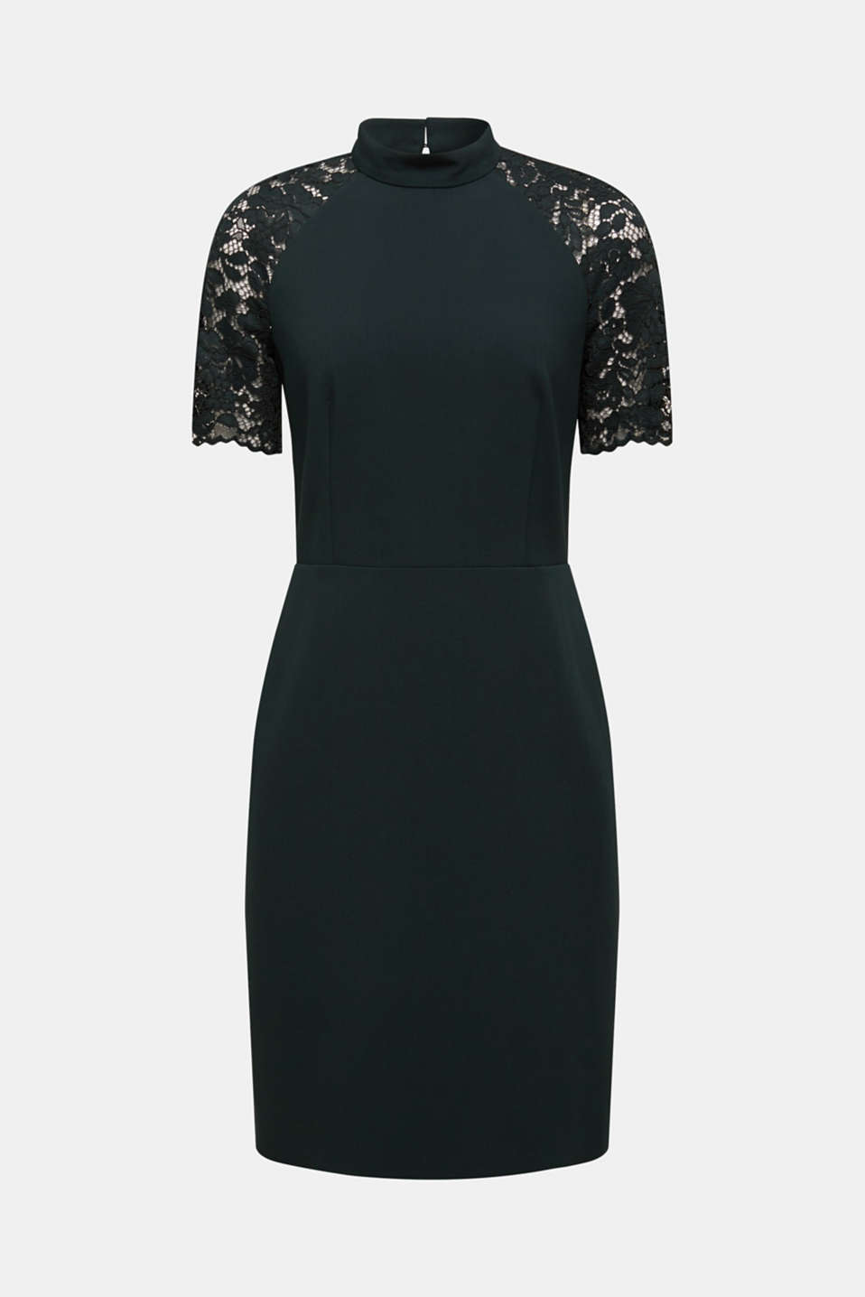 Stretch dress with band collar and lace, DARK TEAL GREEN, detail image number 6