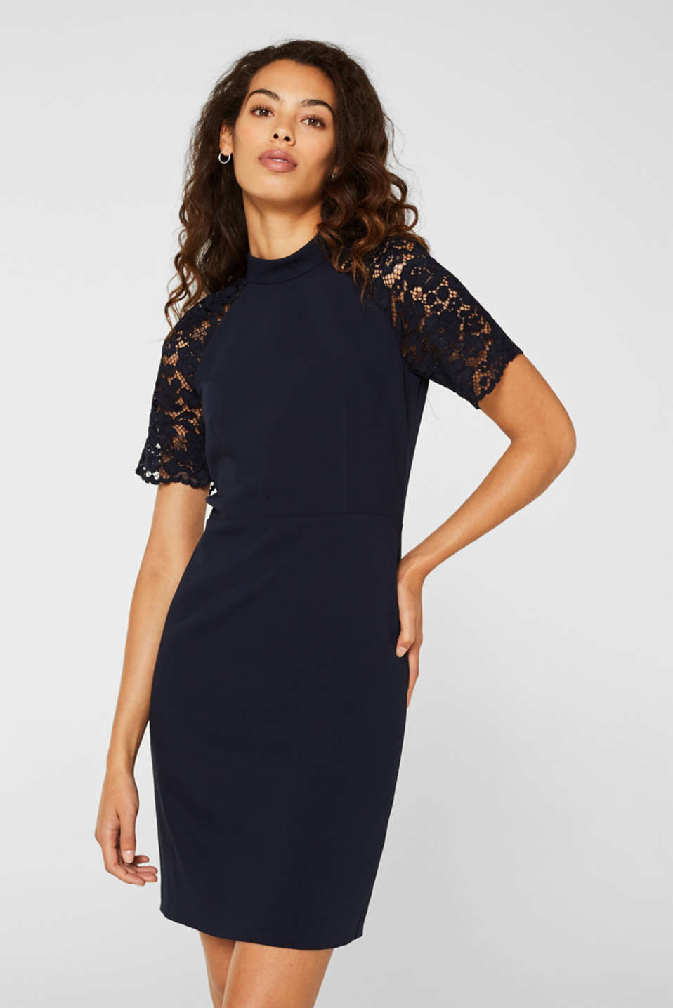 Stretch dress with band collar and lace, NAVY, detail image number 0