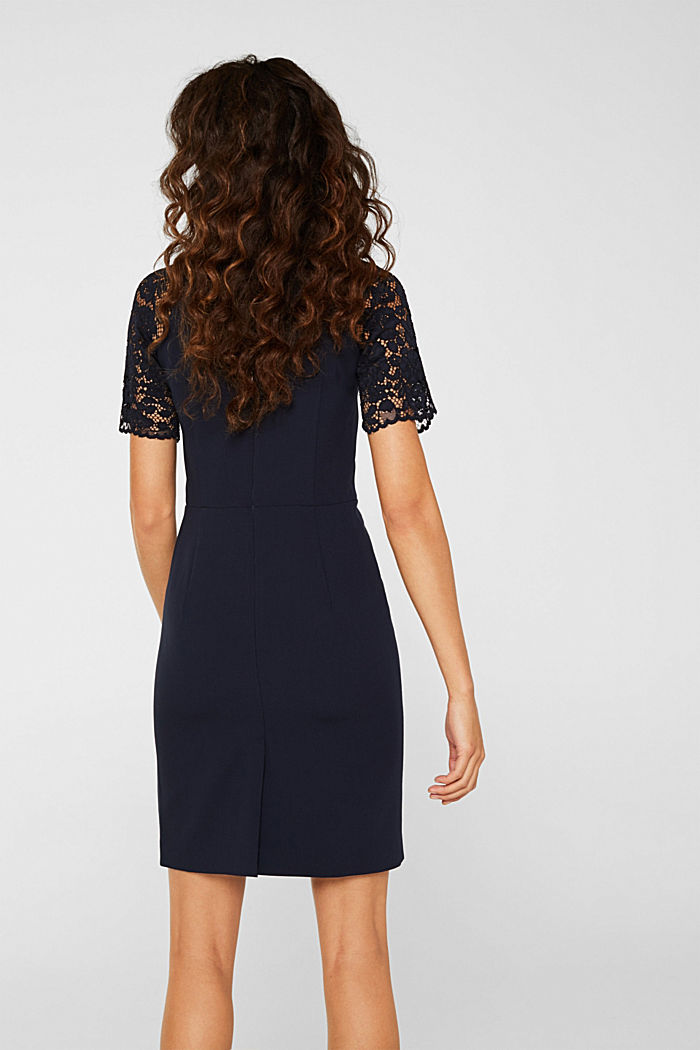 Stretch dress with band collar and lace, NAVY, detail image number 3