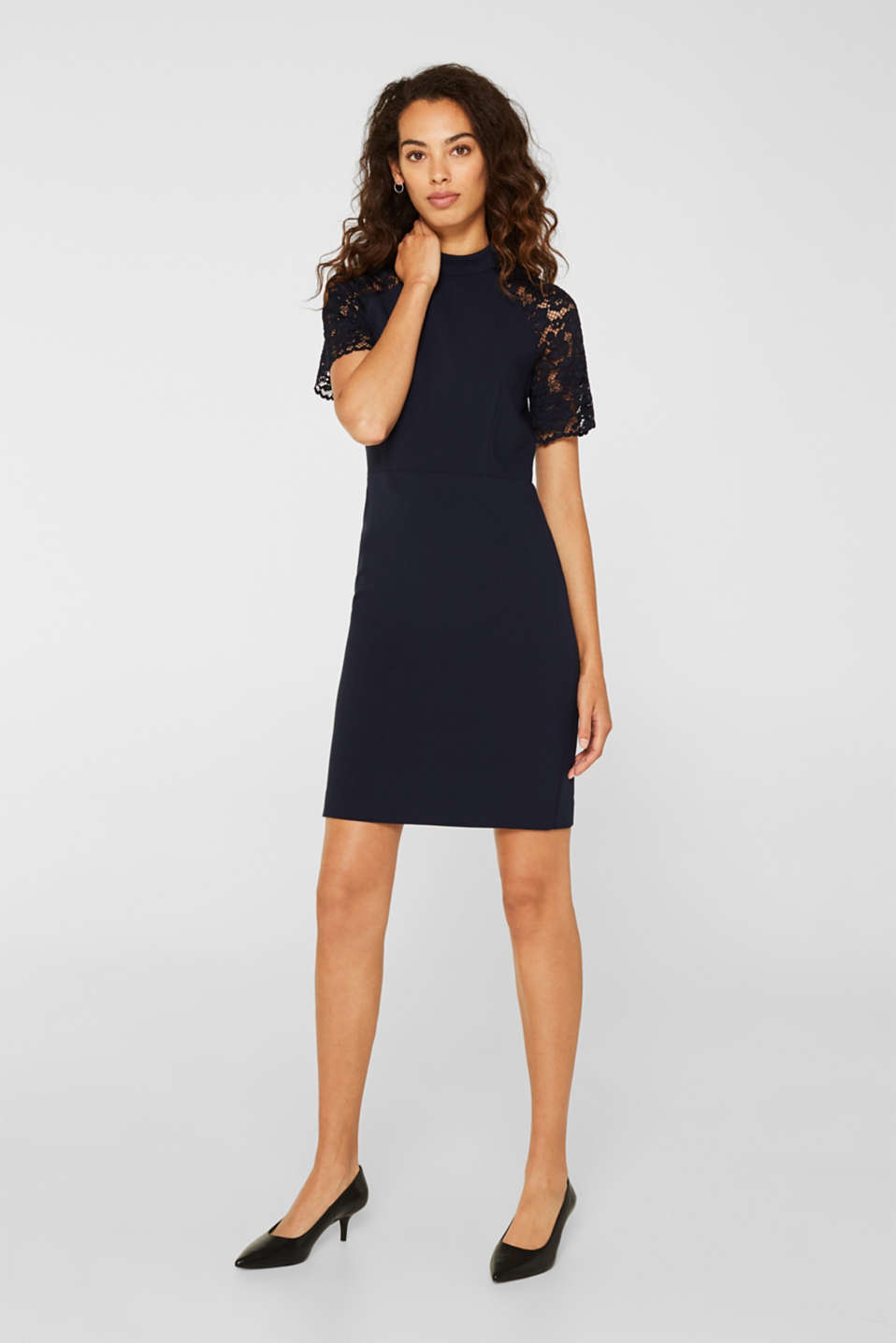 Stretch dress with band collar and lace, NAVY, detail image number 5