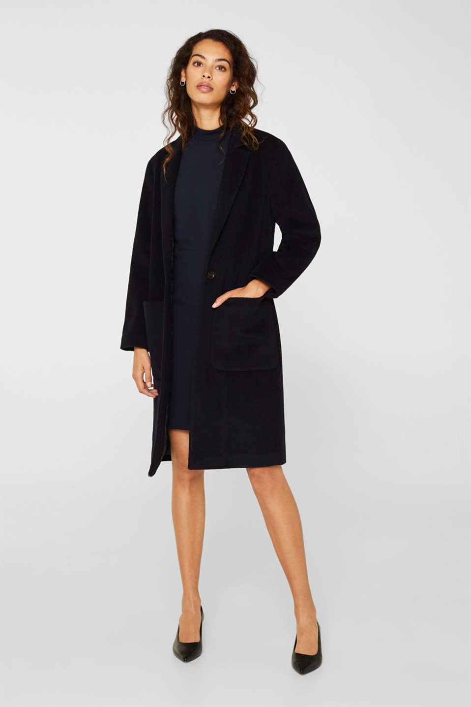 Stretch dress with band collar and lace, NAVY, detail image number 1