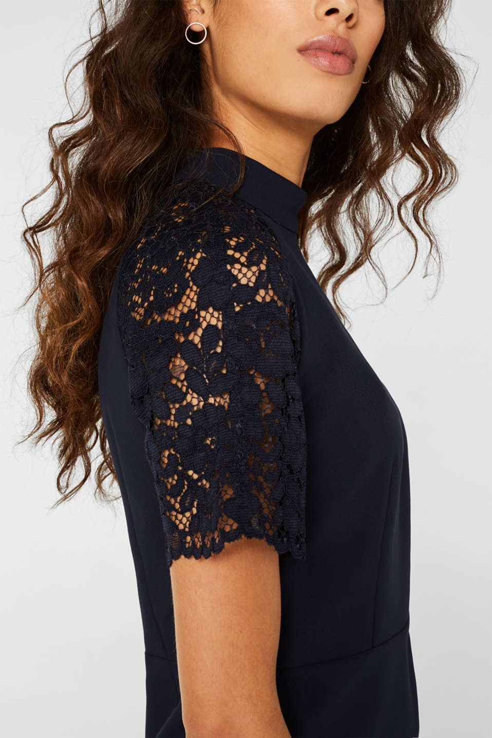 Stretch dress with band collar and lace, NAVY, detail image number 2