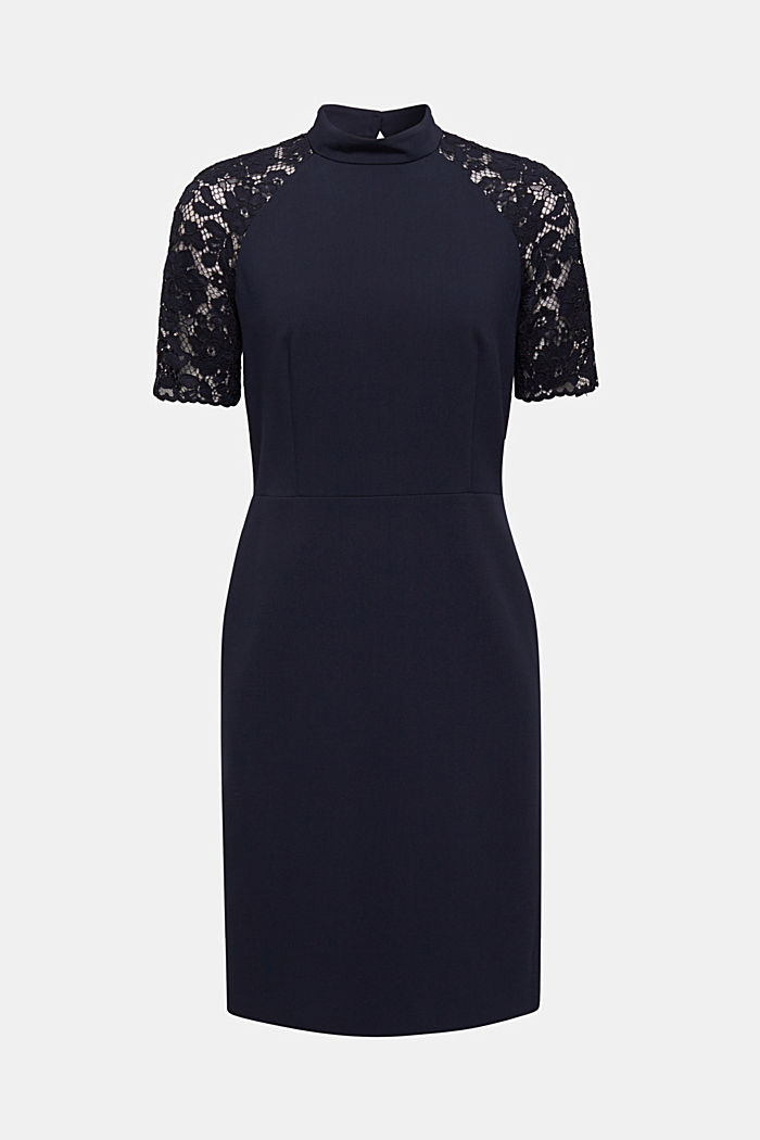 Stretch dress with band collar and lace, NAVY, detail image number 6