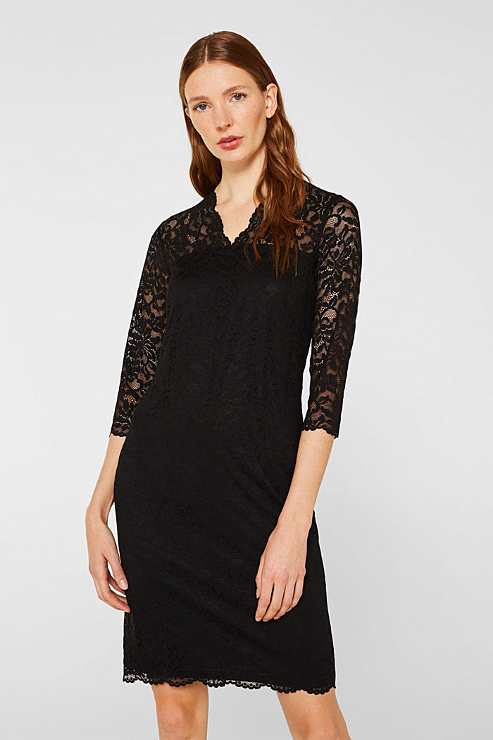 Floral lace dress with stretch, BLACK, detail image number 0