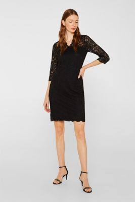 Floral lace dress with stretch, BLACK, detail