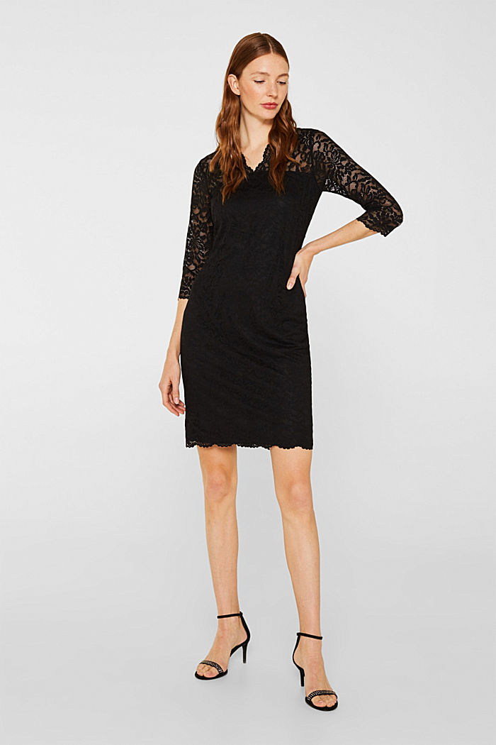 Floral lace dress with stretch, BLACK, detail image number 1