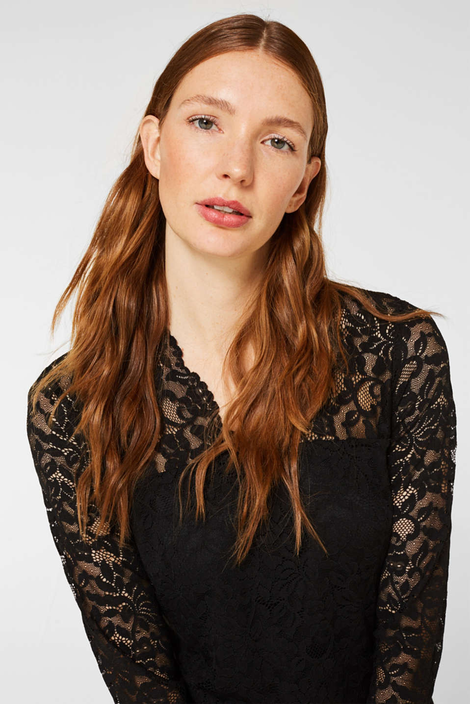 Floral lace dress with stretch, BLACK, detail image number 3
