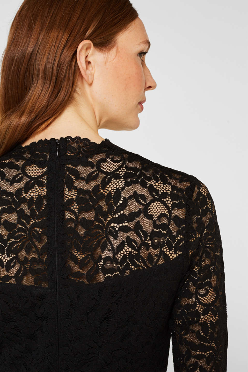 Floral lace dress with stretch, BLACK, detail image number 5