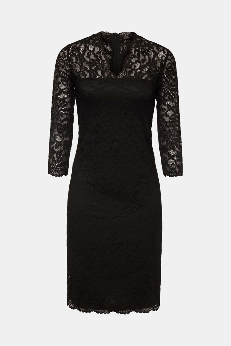 Floral lace dress with stretch, BLACK, detail image number 6
