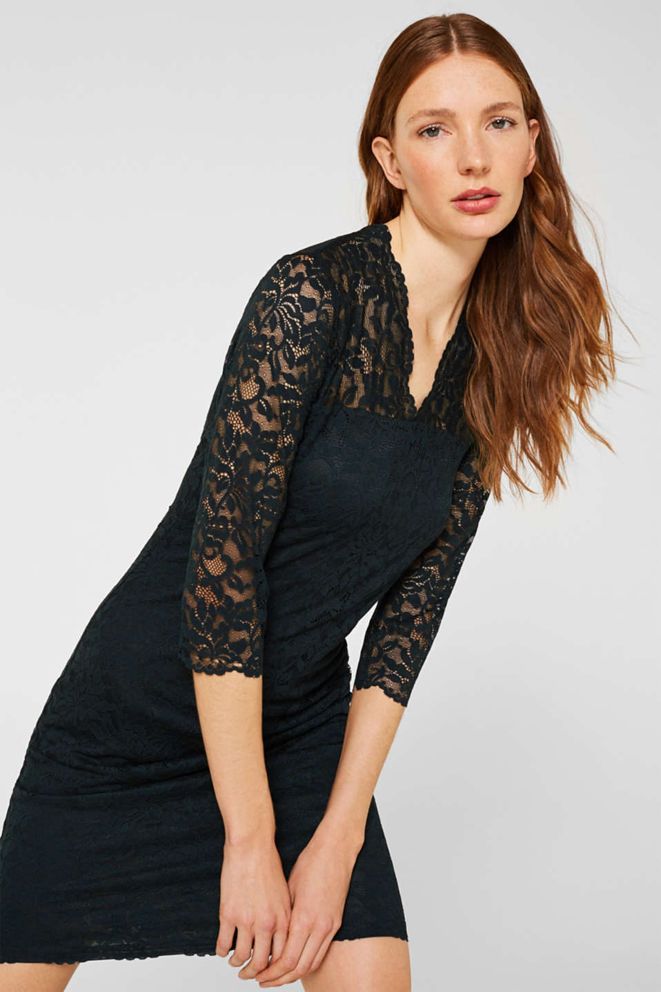 Floral lace dress with stretch, DARK TEAL GREEN, detail image number 0