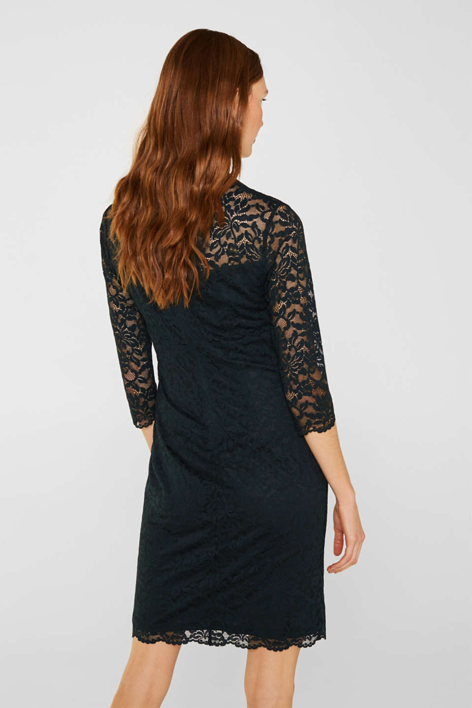 Floral lace dress with stretch, DARK TEAL GREEN, detail image number 2