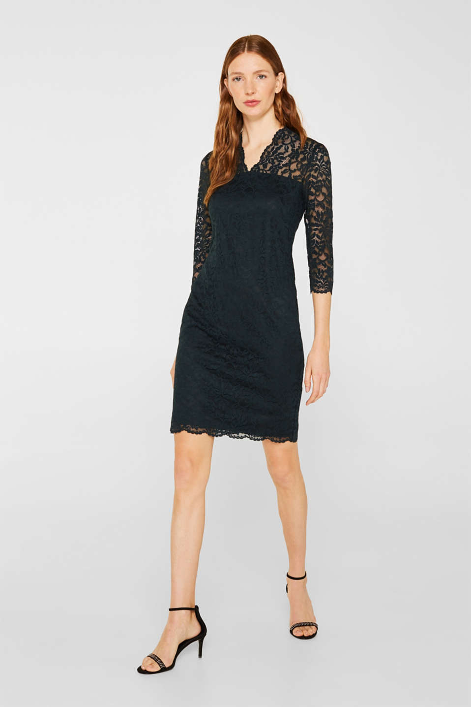 Floral lace dress with stretch, DARK TEAL GREEN, detail image number 1