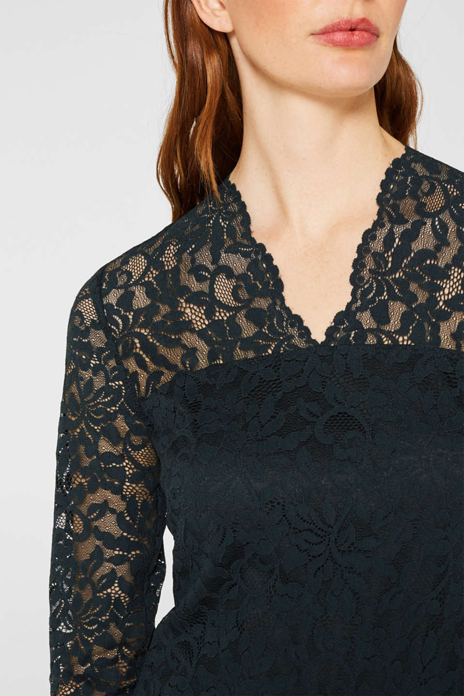 Floral lace dress with stretch, DARK TEAL GREEN, detail image number 3