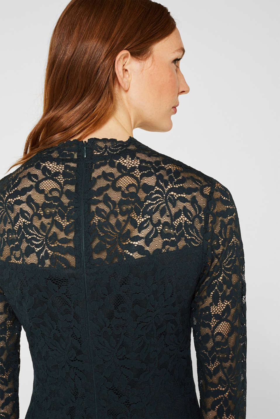Floral lace dress with stretch, DARK TEAL GREEN, detail image number 5