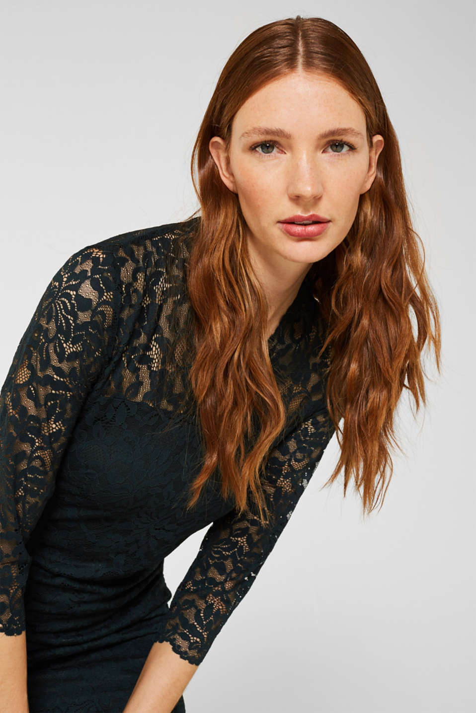 Floral lace dress with stretch, DARK TEAL GREEN, detail image number 6