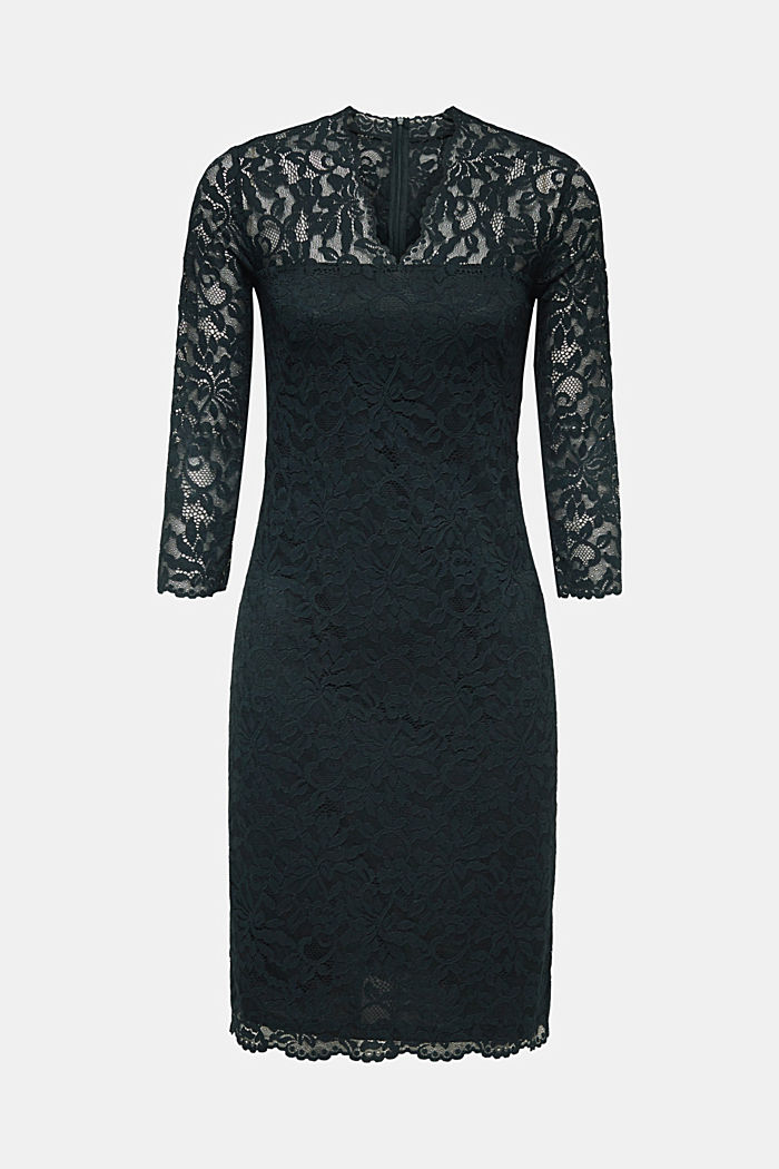 Abito in pizzo floreale elasticizzato, DARK TEAL GREEN, detail image number 0