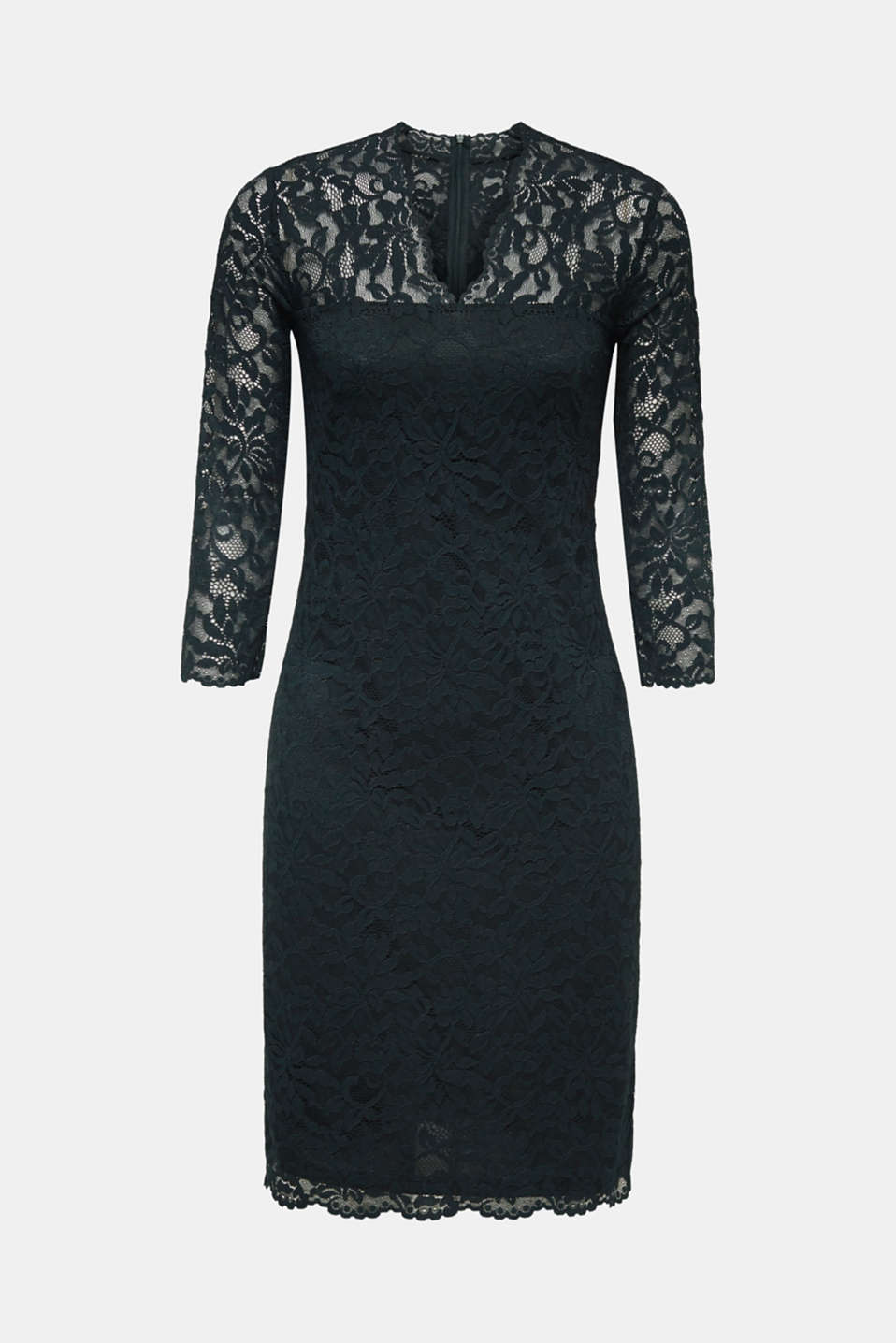 Floral lace dress with stretch, DARK TEAL GREEN, detail image number 7