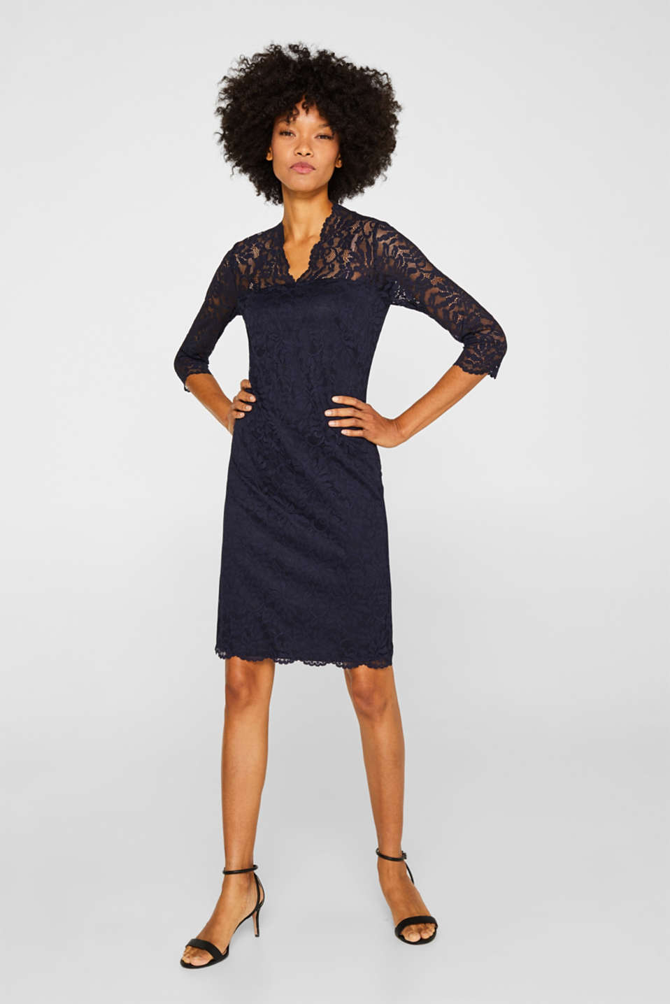 Floral lace dress with stretch, NAVY, detail image number 1
