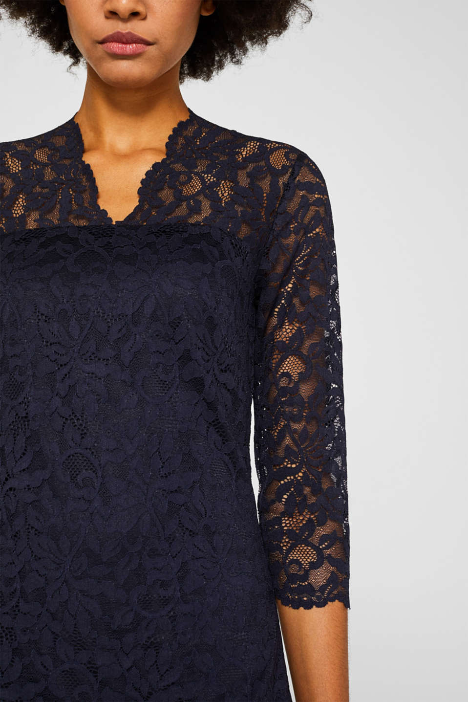 Floral lace dress with stretch, NAVY, detail image number 3