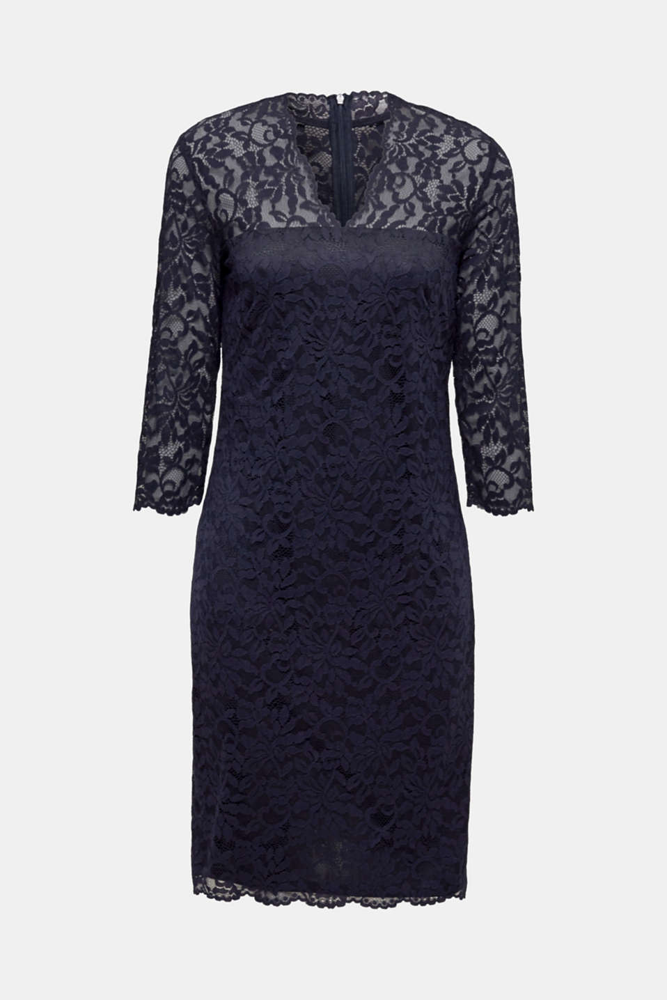 Floral lace dress with stretch, NAVY, detail image number 5