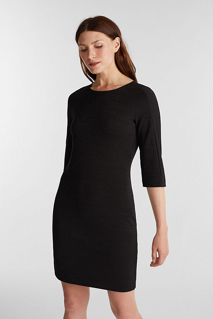 Stretch shift dress with lurex, BLACK, detail image number 0