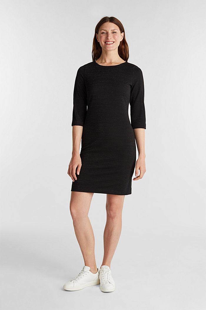 Stretch shift dress with lurex, BLACK, detail image number 1